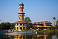 The royal residence phra thinang and sages lookout tower ho withun thasana of thai summer palace of bang pa in near Stock Photos