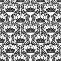 Royal Seamless Pattern. Crown and floral vintage tracery isolate