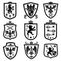 Royal shields, nobility heraldry coat of arms vector set Royalty Free Stock Photo