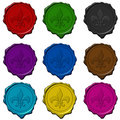 Royal sign colored wax seals Stock Photo