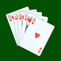 A royal straight flush playing cards Stock Photo