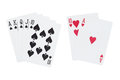 Royal straight flush of spades and blackjack playing cards Royalty Free Stock Photo