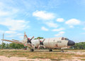 The Royal Thai Navy Airforce P-3T airplane are in area of open air museum of The Royal Thai Navy, Thailand Royalty Free Stock Photo