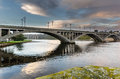 Royal tweed bridge the is the main road crossing between berwick and tweedmouth Royalty Free Stock Photo