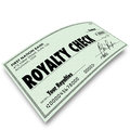 Royalty check commission income percentage revenue sales words on paper money issued for interest share or earnings as Royalty Free Stock Photography