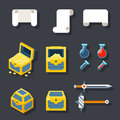 RPG Game Accessories Icons Set Scrolls Treasure Royalty Free Stock Photo