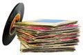 45 rpm vinyl discs stack Royalty Free Stock Photo