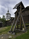 The røros church norway and bell at roros town is now a museum covering old abandoned copper mines Stock Images