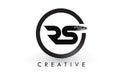 RS Brush Letter Logo Design. Creative Brushed Letters Icon Logo. Royalty Free Stock Photo