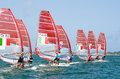 RS:X boards lining up ISAF Sailing World Cup medal race Stock Photos