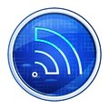 RSS Feed icon futuristic blue round button vector illustration Royalty Free Stock Photo