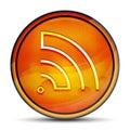 RSS Feed icon shiny bright orange round button illustration Royalty Free Stock Photo