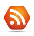 Rss icon with shadow Royalty Free Stock Photo