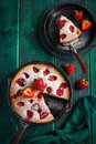 Rstic summer strawberry  cake on cast iron pan Royalty Free Stock Photo