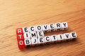 Rto recovery time objective cubes with text on wood Stock Images