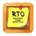 Rto yellow sticker on bulletin recovery time objective written cork or message board business concept Stock Image