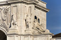 Rua augusta arch detail of the a stone triumphal like in lisbon portugal built to commemorate the city s reconstruction after Royalty Free Stock Image