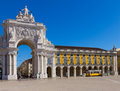 Rua augusta arch in lisbon portugal is a triumphal like historical building and visitor attraction on commerce square at day Stock Image