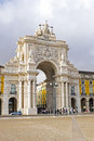 Rua augusta in lisbon portugal arch is a stone triumphal arch like historical building and visitor attraction on commerce square Royalty Free Stock Photography