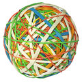 Rubber band ball colorful isolated with clipping path on white background Stock Photography