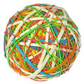 Rubber bands ball colorful band isolated with clipping path on white background Stock Photography