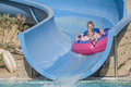 Rubber boat in a waterslide image the grandkids have fun down the is shot at the water park to hotel hilton sharm dreams Royalty Free Stock Image