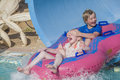 Rubber boat in a waterslide image the grandkids have fun down the is shot at the water park to hotel hilton sharm dreams Royalty Free Stock Images