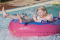 Rubber boat in a waterslide image the grandkids have fun down the is shot at the water park to hotel hilton sharm dreams Stock Photo