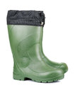 Rubber boots pair of green isolated on white Royalty Free Stock Photo