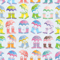Rubber boots seamless pattern Stock Photo