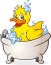 Rubber duck bubble bath cartoon character a cute toy in a splish splashing in the tub Royalty Free Stock Image