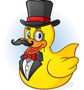 Rubber duck gentleman cartoon a rich character with a handlebar mustache bow tie and top hat Stock Photography