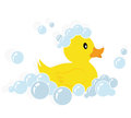 Rubber duck illustration of a yellow in soap bubbles isolated on white background Royalty Free Stock Photography