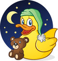Rubber duck nap time cartoon character a cute yellow ducky getting ready for bed with his night cap and teddy bear Stock Images