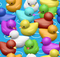 Rubber duck pattern seamless tile repeatable with sea of playful happy and colorful ducks swimming making good fun from children Stock Photos