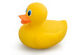 Rubber duck toy yellow on a white background kids to play with in the bath Stock Photo