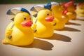 Rubber Ducks Holding Umbrellas Royalty Free Stock Photo