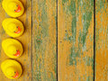 Rubber ducks on wood Royalty Free Stock Photo
