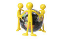 Rubber Figures and World Globe Stock Photo