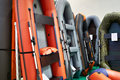 Rubber inflatable boats for fishing in sport store Royalty Free Stock Photo