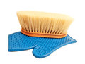 Rubber mitten and brush with long bristle Stock Image
