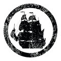 Rubber stamp with brigantine Stock Photography