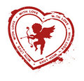 Rubber stamp with cupid silhouette Stock Images