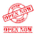 Rubber stamp design OPEN NOW Royalty Free Stock Photo