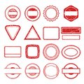 Rubber stamp frames. Grunge scratching post tampon insignia stamp vector templates isolated