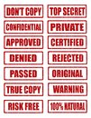 Rubber stamp grunge red stamps collection isolated on white background including approved rejected top secret Royalty Free Stock Image