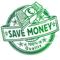 Rubber stamp with save money Royalty Free Stock Photo