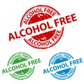 Rubber Stamp Seal - Alcohol Free Button - Vector Illustration Isolated On White Background