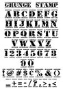 Rubber stamp vector grunge alphabet numbers symbols font original artwork size Royalty Free Stock Photos
