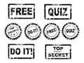 Rubber stamps free quiz top secret do it free vector illustration grunge eps Stock Photography